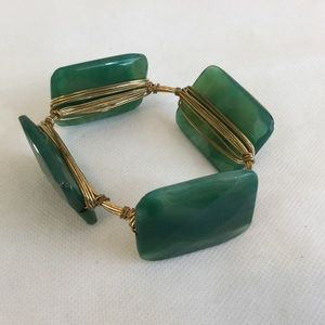 Green/Gold Stone and Wire Bangle Bracelet